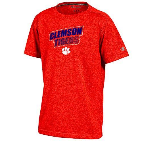 (Champion NCAA Clemson Tigers Youth Boys Short Sleeve Crew Neck Tee, Small, Orange Heather)