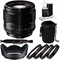 Fujifilm XF 56mm f/1.2 R Lens + 62mm +1 +2 +4 +10 Close-Up Macro Filter Set with Pouch Bundle 4