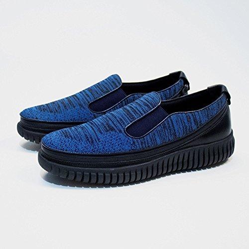 Acbc Zapato De Punto Running Mocasín Negro Sole Blue Zapato Con Cierre De Cremallera