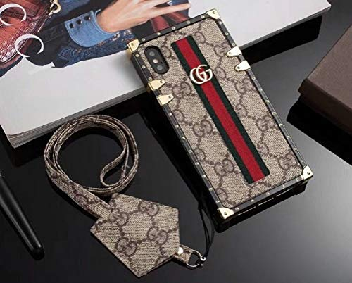 New Classic Elegant PU Leather Style Cases For Apple Iphone 6/6S Plus Cellphone Back Cover Case For Iphones 7/8 Plus Full Protect Case With Long Rope For Iphone X(Trunk Bag Brown 7Plus/8Plus)