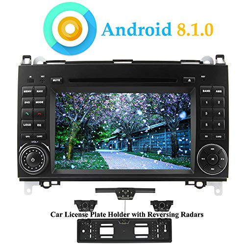XISEDO Android 8.1.0 Car Stereo 7 Inch in Dash 4-Core Autoradio 2 Din Head Unit Car GPS Navigation with DVD Player for Mercedes-Benz A-W169, B-W245,Viano (with UK/EU License Plate Frame)