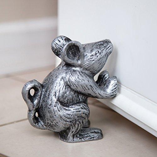 Cast Iron Mouse Door Stop - Decorative Rustic Door Stop - Stop your bedroom, bath and exeterior doors in style - Vintage Silver (Decorative Office Furniture)