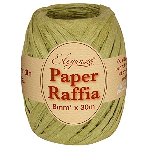 Eleganza 8 mm x 30 m Paper Raffia for Variety of Craft Projects and Gift Wrapping, No.51 Sage Green Oaktree UK 630017