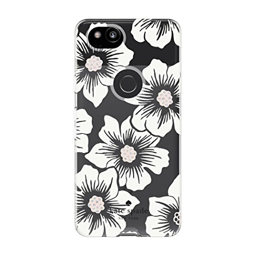 Kate Spade New York Flexible Hardshell Case for Google Pixel 2 - Multi Hollyhock Floral Clear/Cream with Stones by Kate Spade New York