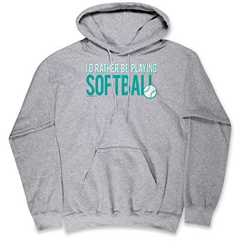 ChalkTalkSPORTS Softball Standard Sweatshirt | I'd Rather Be Playing Softball | Gray | Adult MD (Softball Sports Sweatshirt)