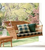 All-Weather Resin Outdoor Everyday Wicker Swing , In Tan