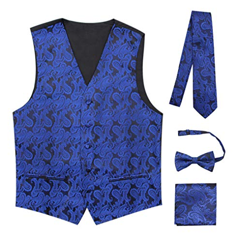 (JAIFEI Premium Men's 4-Piece Paisley Vest for Sleek Looks On Formal Occasions (M, Royal Blue))