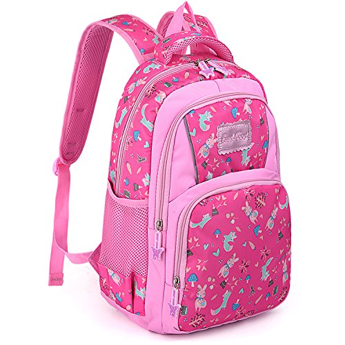 (UTO Backpack Nylon Child Teenager Lightweight Rucksack Cute Cartoon Primary Junior School Bookbag Rose Pink)