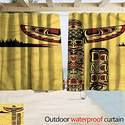 Rod Pocket Top Blackout Curtains/Drapes Native American Totem Pole Retro Room Darkening, Noise Reducing W63x45L -