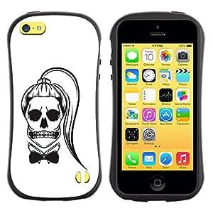 "Pulsar iFace Series Tpu silicona Carcasa Funda Case para Apple iPhone 5C , Blanco Negro Bowtie Cráneo divertido Cola de caballo"""