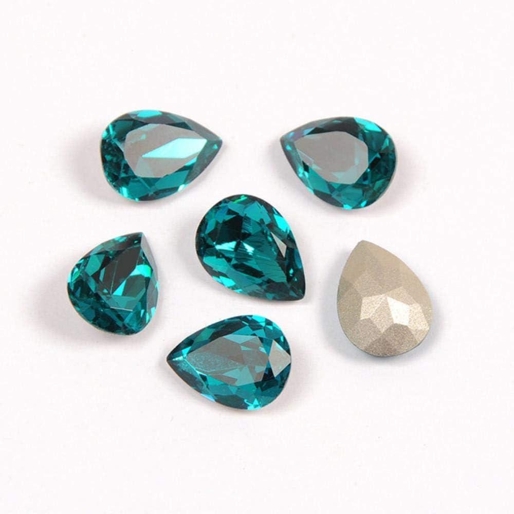 PENVEAT 4320 Drop Diamond Teardrop Glass Fancy Stones Coser en Cristales Costura al por Mayor con Garras Piedras Superiores para Vestido de Novia, circón Azul, con Garra Plateada