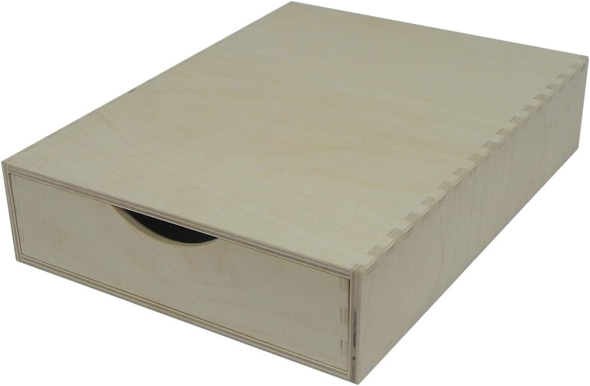 Cajón individual de madera – Almacenamiento de escritorio A4, sin pintar perfecto para manualidades, decoupage