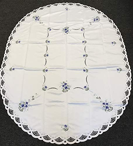 Mikash 72x108 Oval Embroidery Oval Tablecloth Embroiderd Blue Flowers with Napkins | Model TBLCLTH - 1102
