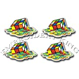 MELTED RUBIKS CUBE - Sticker Decal For Skateboard Scooter Phone Guitar Laptop Case - Set of 4 PVC stickers from EMBROIDERY KING