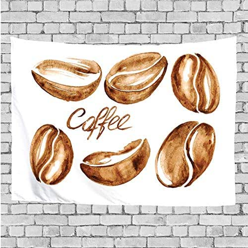 GULTMEE Home Decor Tapestry,Watercolor Effect Beans Breakfast Drink Brush Strokes Pattern Abstract Artistic,Wall Hanging for Bedroom Living Room Dorm 90Wx60L Inch