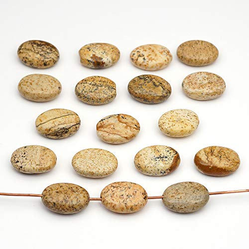 18 Pcs Flat Oval Brown Picture Jasper Beads 14mm