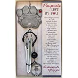 """Pet Memorial Wind Chime - 12"""" Metal Casted Pawprint Wind Chime - A Beautiful Remembrance Gift For a Grieving Pet Owner- Includes """"Pawprints Left By You"""" Poem Card."""
