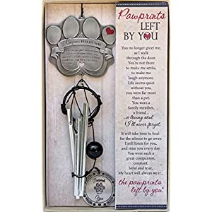 "Pet Memorial Wind Chime - 18"" Metal Casted Pawprint Wind Chime - A Beautiful Remembrance Gift for a Grieving Pet Owner - Includes Pawprints Left by You Poem Card 10"