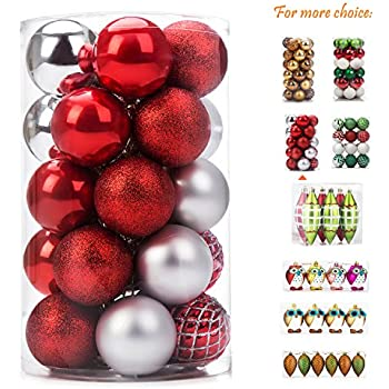 ipegtop christmas balls ornaments 25ct shatterproof classic red and silver shiny glitter matte baubles for