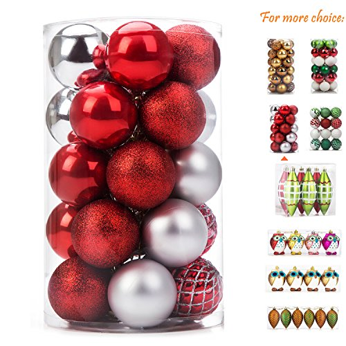 iPEGTOP Christmas Balls Ornaments - 25ct Shatterproof Classic Red and Silver Shiny Glitter Matte Baubles for Holiday Wedding Party Christmas Tree Decorations, 60mm/2.4inch (Matte Ornaments Red)