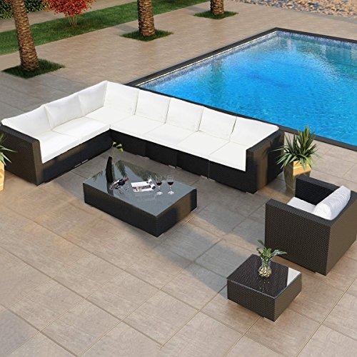 (TANGKULA Wicker Outdoor Patio Furniture Set Cushioned Garden Lawn Rattan Modern Sectional Sofa Set, 10PCS)