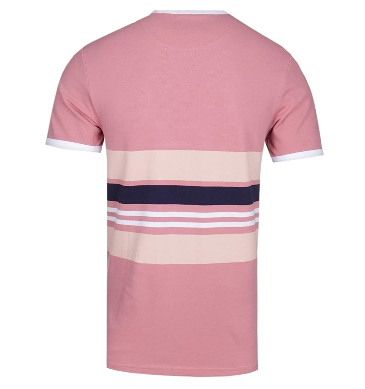 Lyle /& Scott Pique Stripe Pink Blush Ringer T-Shirt