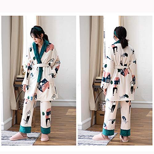 Conjunto Pijama Pantalón Manga Sencillo Alargado Ropa De Costura Empalme Espesar Para Blanco Invierno Gwdj Liruipengsy El Larga Hogar Piezas Cómodo Pijamas Color Dos Camisón q6TxP8nU