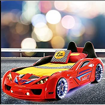 nitro turbo gt kids room car bed with mattress racing sounds and lights red