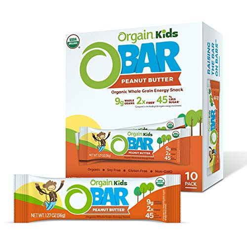 Orgain Organic Kids Energy bar, Peanut Butter - Great for Snacks, Vegan, 7g Dietary Fiber, 4g Protein, Dairy Free, Gluten Free, Lactose Free, Soy Free, Kosher, Non-GMO, 1.27 Oz, 10Count
