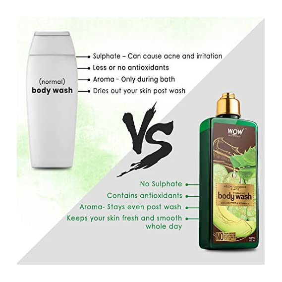 WOW Skin Science Melon, Cucumber & Aloe Foaming Body Wash - No Parabens, Sulphate, Silicones & Color, 250 ml