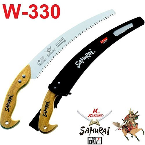 Samurai W-330-LH (33cm) Heavy Duty Wooden Handle Curved Hand Saw + Carrying Case by Samurai