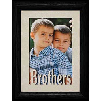 this item 5x7 brothers portrait black picture frame with cream mat holds a 4x6 or a cropped 5x7 portrait picture wonderful gift for brothers or parents
