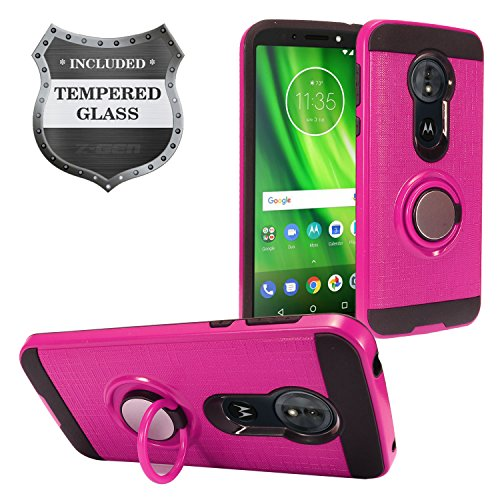Z-GEN - Motorola Moto G6 Play, Moto G6 Forge XT1922, Moto E5 (5.7) XT1920DL - Hybrid Hard Case w/Ring Stand + Tempered Glass Screen Protector - RS2 Hot Pink