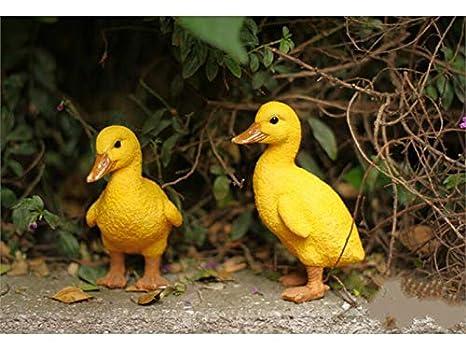 Mini d/écoration de jardin Couleur : Yellow jaune Ornement d/écoratif 2 canettes debout de canard de r/ésine ornements d/écoration de paysage micro pour la maison de jardin