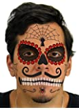 Ruby Sugar Skull Day of the Dead Temporary Face Tattoo Kit for Men or Women