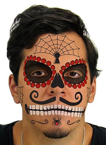 Costumes The Of Day Dead Skull (Ruby Sugar Skull Day of the Dead Temporary Face Tattoo Kit for Men or)