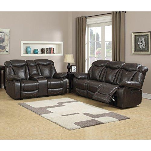 US Furnishing Express Walter Dark Brown Leather Reclining Sofa and Loveseat (Set of 2)