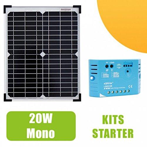 Kit panneau solaire Monocristallin 20W 12V et ré gulateur 5A Ohm-Easy