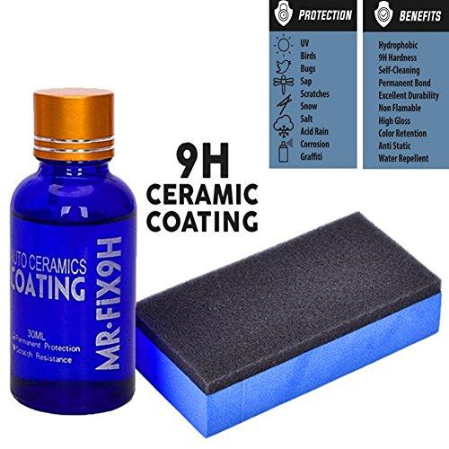 blue–net Car Ceramic Coating 9h Car Ceramic Coating Kit Anti-Scratch Car Polish Car High Gloss Ceramic Coat Auto Detailing Glass Coat Care Super Hydrophobic Glass Coating 30ml (1PC)
