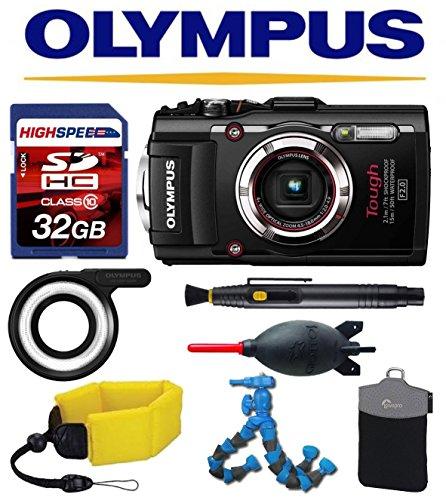 Olympus Stylus TG-4 iHS (Black) w/ Olympus LED Light Guide (LG-1), Floating Strap, Case, 32GB Accessory Kit tg4 t-g4