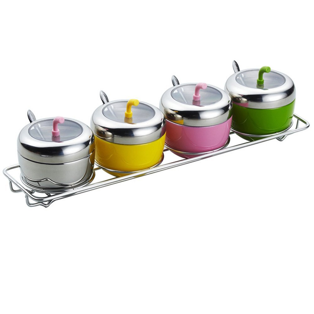 MyLifeUNIT 304 Stainless Steel Seasoning Container Set of 4 with Rack Spoon and Lid