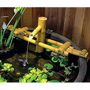 Aquascape 78308 Poly-Resin Adjustable Pouring Bamboo Fountain, Extends from 18 to 30 inches Long to fit Precisely in…