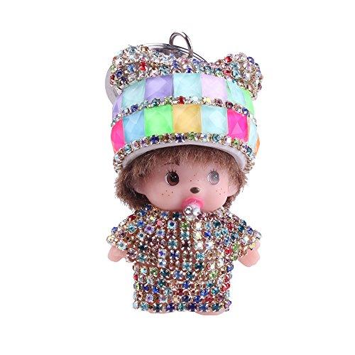 Doll Keychain - Sunvy Cute Crystal Rhinestone Charm Doll Baby Keychain Pendant Birthday Gift Car Key Handbag Ring For women Girls (colorful)