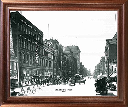 (Impact Posters Gallery Framed Wall Decoration 1909 Riverside Vintage West Buggy Horse Black and White Mahogany Art Print Picture)