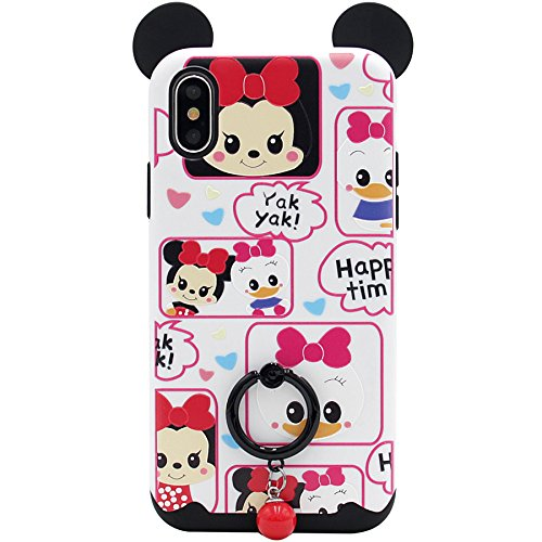 iPhone X Case, MC Fashion [Ring Grip & Kickstand Series] [Dual-Layer] Hard PC Outer + Soft TPU Inner Cute Cartoon Minnie Mickey Mouse Ears Protective Case for iPhone X/iPhone 10 (2017) (#4)