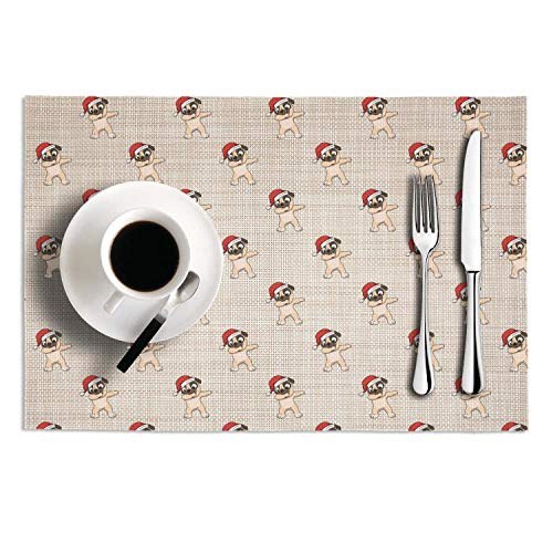 (Cute Santa Pug Dabbing Christmas pattern PVC Placemats for Dining Table,heat resistant easy to clean,KitchenCrossweave Woven Dining Table Mats,set of 2)
