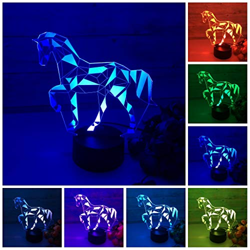 ChiMoon Night Lights for Kids,3D Night Light Horse Color-Changing Horse Lamps Table Desk LED Illusion Lamp Horse Decor for Girls Room Kids Birthday Gift Xmas Gift Party Decor