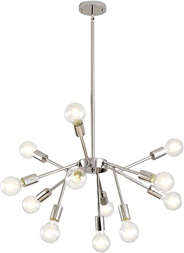 XILICON Modern Sputnik Chandelier Brushed Nickel 12 Lights Mid Century Industrial Pendant Lighting Vintage Semi Flush Mount Ceiling Light Fixture