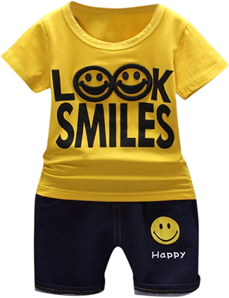 Fabal Kids Baby Girl Solid Letter Cartoon T Shirt Print Denim Shorts 2PC Sets Outfits