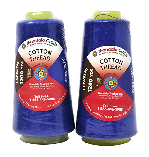 Mandala Crafts Quilting Cotton Thread Cone for Machine and Hand Sewing, 100 Percent Natural Mercerized, 50 wt (2 Rolls 2400 Yards, Royal Blue)